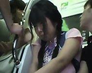 Miniskirt Schoolgirl Groped In Train - scene 3