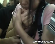 Miniskirt Schoolgirl Groped In Train - scene 7