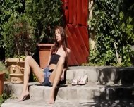 Brunette And Outdoor Fingering Hole - scene 2