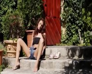 Brunette And Outdoor Fingering Hole - scene 3