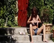 Brunette And Outdoor Fingering Hole - scene 5