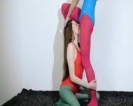 Hairy Lesbians In Nylon Lingerie Loving - scene 5
