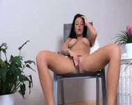 Luxury Breasty Brunette With Dildo - scene 1