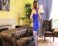 Purple Nylons And Incredibly Hot Stocking - scene 1