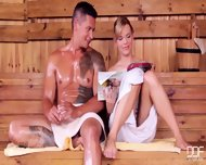 Hottie Gets Fucked Gently In Sauna - scene 1