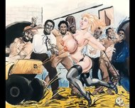 Slaves In Bondage Bdsm Cartoon Art - scene 9