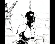 Slaves In Bondage Bdsm Cartoon Art - scene 4