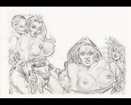 Amazons Dominate In Mixed Wrestling Lesbian Wrestling Art Comics - scene 5