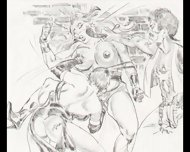 Amazons Dominate In Mixed Wrestling Lesbian Wrestling Art Comics - scene 6