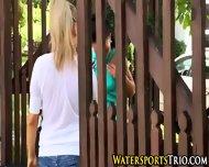 Outdoor Lesbian Soaked - scene 1