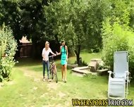 Outdoor Lesbian Soaked - scene 2
