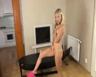 Unbelievable Blonde On Tv Table - scene 3