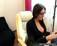 Czech Secretary Fingers In Nylons Webcam - scene 1