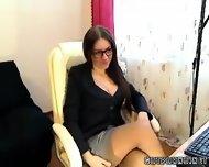 Czech Secretary Fingers In Nylons Webcam - scene 2