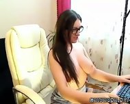 Czech Secretary Fingers In Nylons Webcam - scene 6