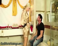 Blonde Wam Babe Sprayed - scene 3