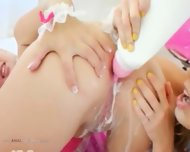 Blondies And Anal Games With Milk - scene 4