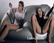 Babes In Pantyhose Copulating With Strap On - scene 4