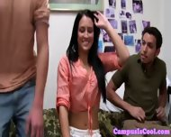 Coed Teen Brunette Spitroasted In Dorm - scene 3