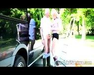 Beautiful Blonde Juggy Sucks Grandpa In The Middle Of The Road - scene 5