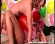Balloon Game For Group Of Amateurs At Party - scene 11