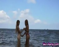 Threesome At The Beach With Two Blonde Sexy Girls - scene 2