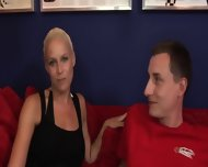 On Red Sofa With Horny Blonde - scene 7