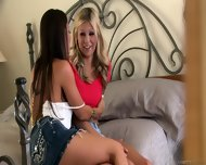 Busty Girls In Lesbian Action On Bed - scene 3
