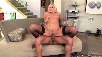 Sexy Blonde With Stockings Enjoys Hardcore Penetration - scene 11