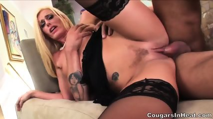 Sexy Blonde With Stockings Enjoys Hardcore Penetration