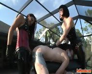 Two Femdom Mistreeses Duct Tape Slaves Asshole Open For Strap On Fucking - scene 4