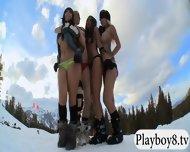 Badass Babes Enjoyed Kooter Kiting And Snowboarding Naked - scene 8