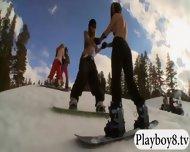 Badass Babes Enjoyed Kooter Kiting And Snowboarding Naked - scene 6