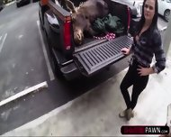 Lesbian Couple Selling A Moose Head Gets Fucked In The Storage Room - scene 1