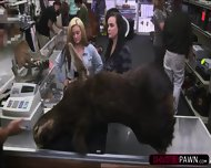 Lesbian Couple Selling A Moose Head Gets Fucked In The Storage Room - scene 2