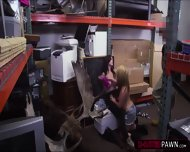 Lesbian Couple Selling A Moose Head Gets Fucked In The Storage Room - scene 6