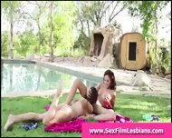 Hot Young Lesbians Making A Sex Tape Outdoors - scene 2