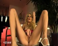 Talll Blonde Babe Strips Then Spreads Her Legs And Fingers Her Pretty Pussy - scene 4