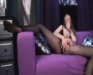 Hottie With Tight Pantyhose In Solo Action - scene 12