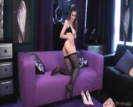 Hottie With Tight Pantyhose In Solo Action - scene 6