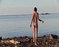 Beautiful Teen Filmed On The Beach - scene 6