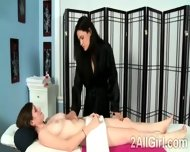 Sweet Teen Gets Seduced By Her Gorgeous Brunette Masseuse - scene 1