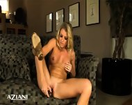 Blonde Girl On Chair Fingering Her Pussy Then Her Tight Asshole - scene 12