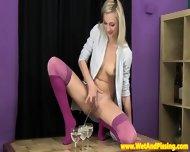 Pretty Piss Drinking Blonde Rubs Her Box - scene 1