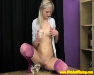Pretty Piss Drinking Blonde Rubs Her Box - scene 3
