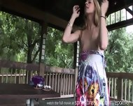 Cute Blonde Fingers Herself Outside - scene 11