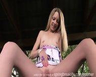Cute Blonde Fingers Herself Outside - scene 12