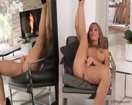 Glamorous Blonde In Solo Action In Front Of Mirror - scene 9
