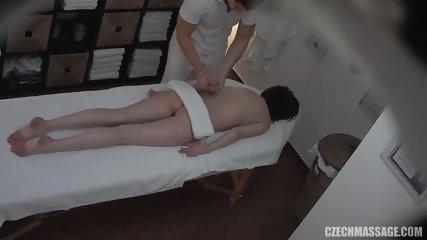 Horny Masseur's Dick In Amateur Brunette - scene 2