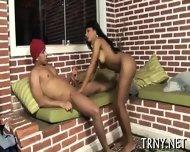Young Tranny Serves 4 Cocks! - scene 1